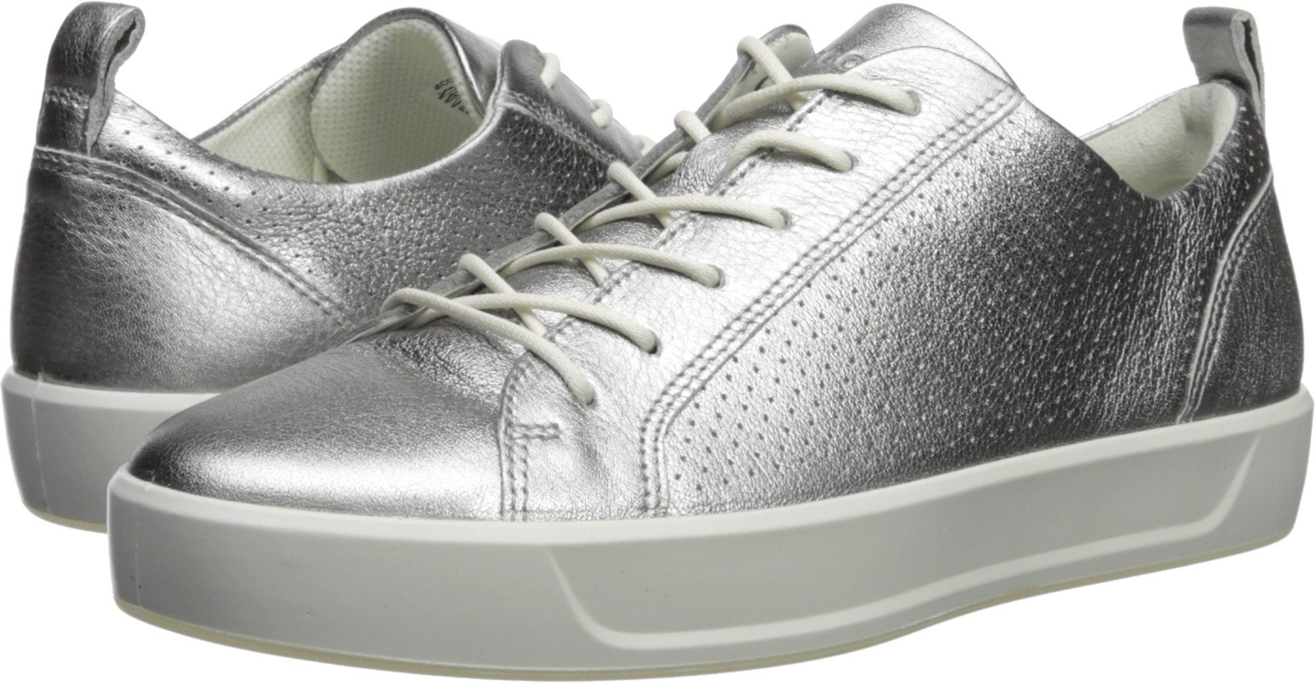 ECCO Women's Women's Soft 8 Perforated Tie Sneaker, Alusilver, 40 M EU (9-9.5 US)