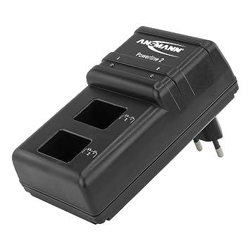 ANSMANN Cargador Powerline 2 de baterías recargables Ni-MH - Para pilas de petaca de 9V - Con 2 ranuras - Carga pilas por separado