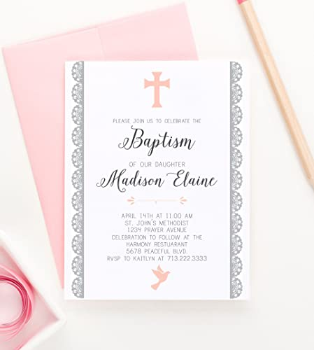 amazon com baptism invitations elegant christening invitations