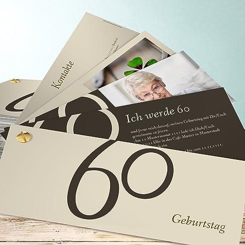 Einladungskarten 60 Geburtstag Selber Machen, Meine Sechzig 5 Karten,  Kartenfächer 210x80 Inkl. Weiße
