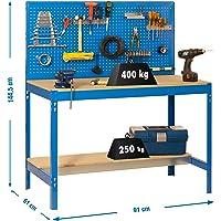 Simonrack 448100045159062 Banco de trabajo (1440 x 900 x 600 mm, 2 estantes y 1 panel perforado, 400 kg-250 kg) color…