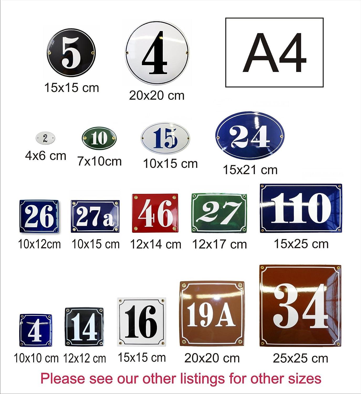 Num/éro de Maison Plaque emaill/ée personnalis/ée Panneau de Porte 15x25 cm Num/éro de Rue