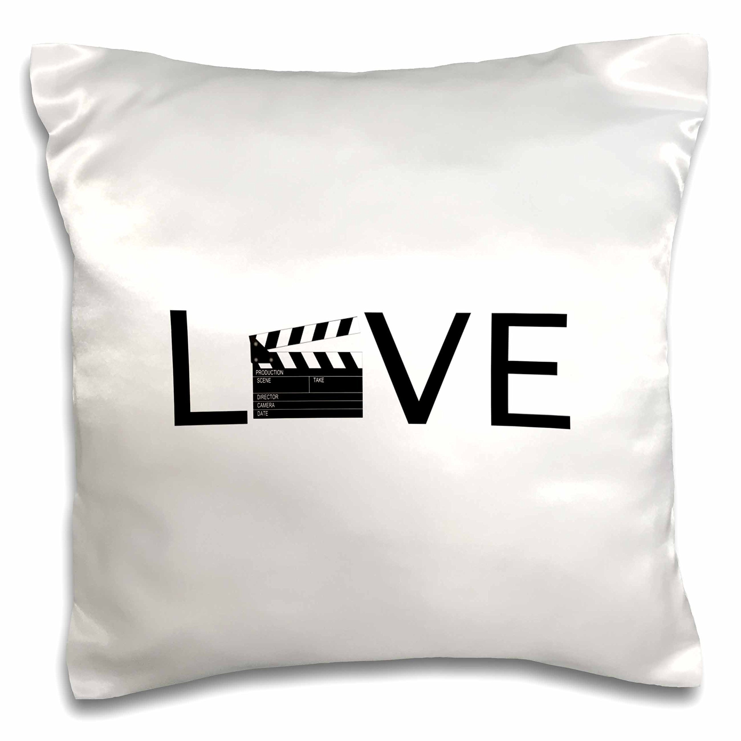 3D Rose Love with Movie Clapper for O Buff Film Making Text Pillow Case, 16'' x 16'', Black