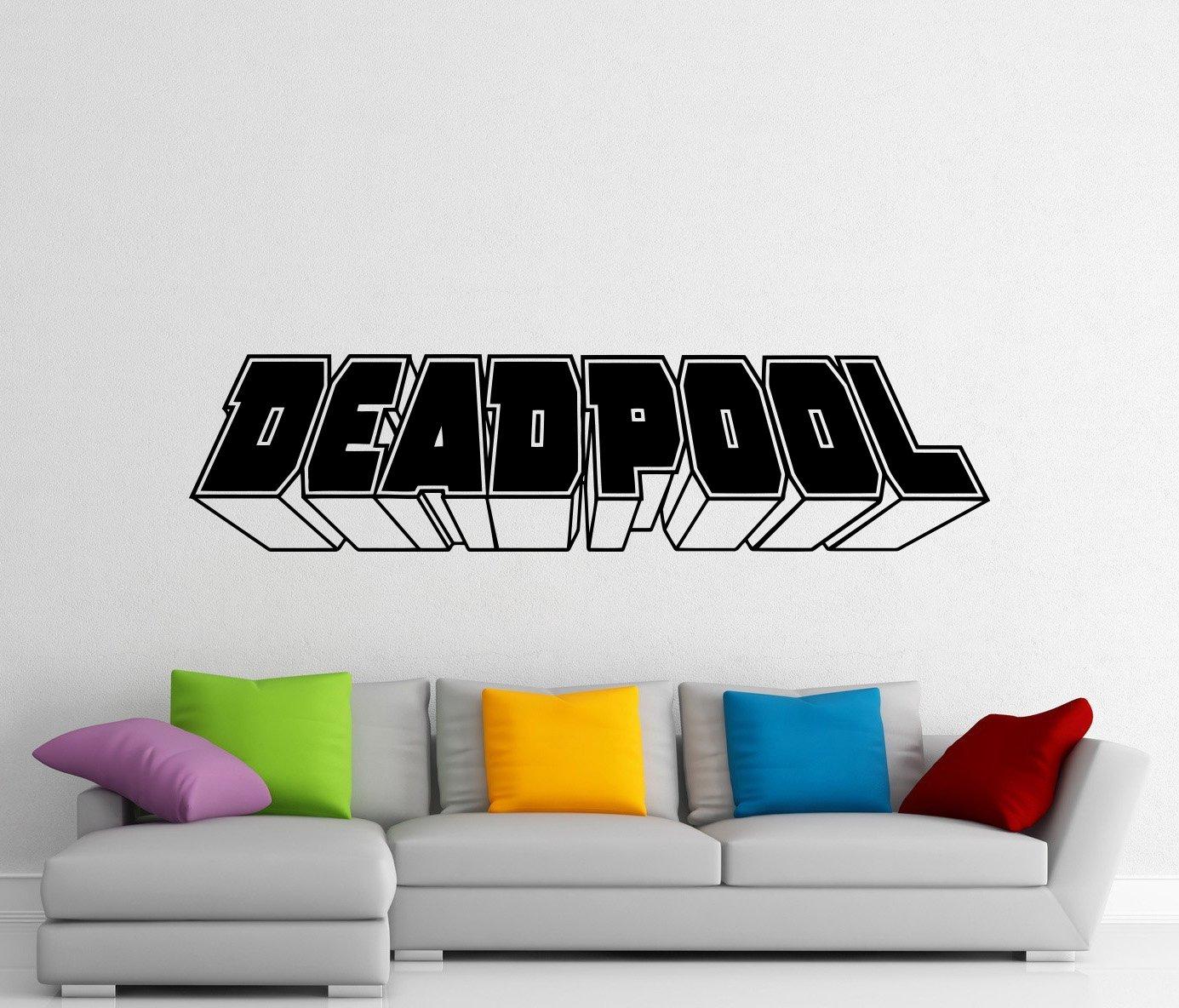 Deadpool Word Wall Decal Deadpool Logo Comics Movie Superhero Vinyl Sticker Kids Room Nursery Wall Decor Waterproof Mural (433z)