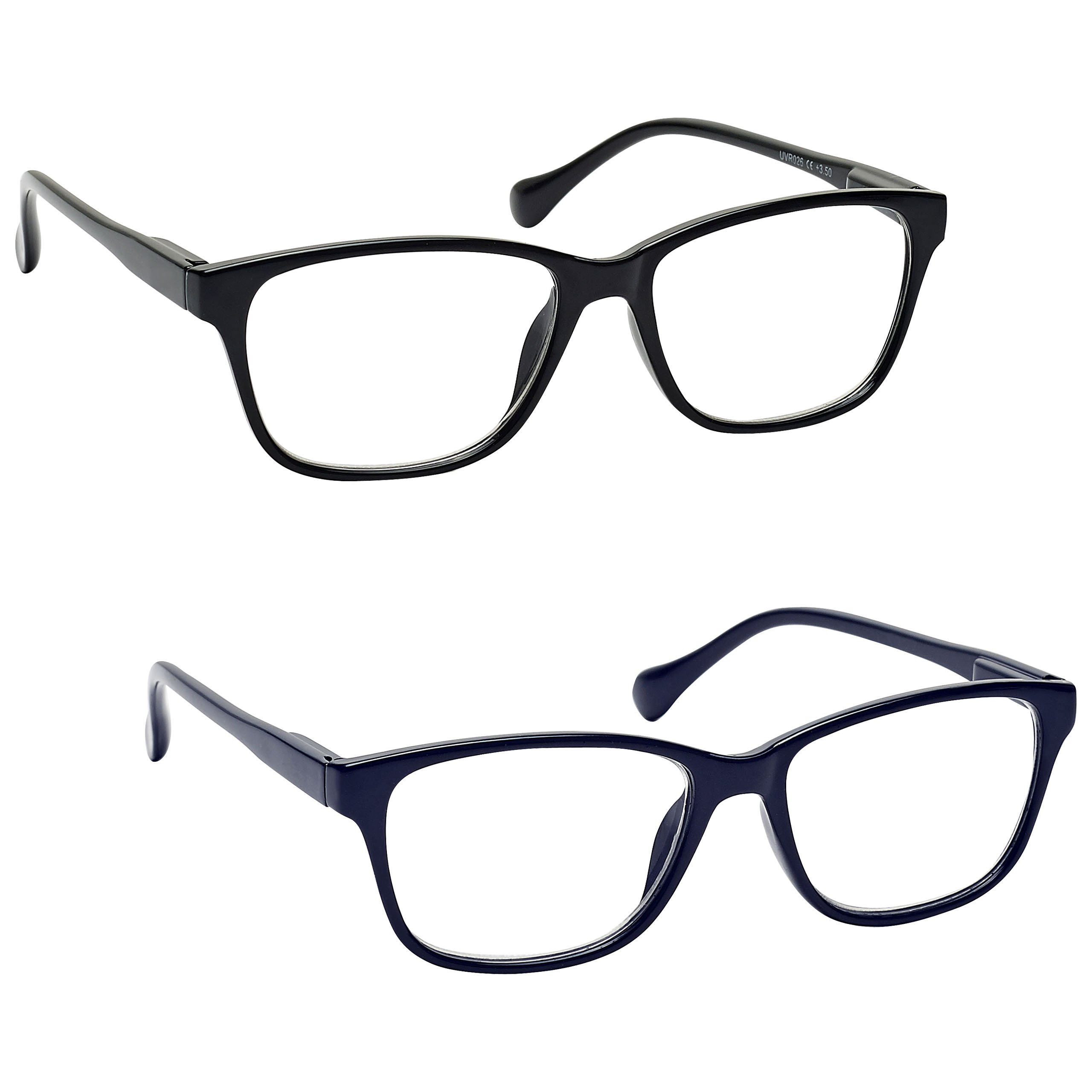 The Reading Glasses Company Black & Navy Blue Lightweight Readers Value 2 Pack Mens Womens Inc Bag RR27-13 +3.50