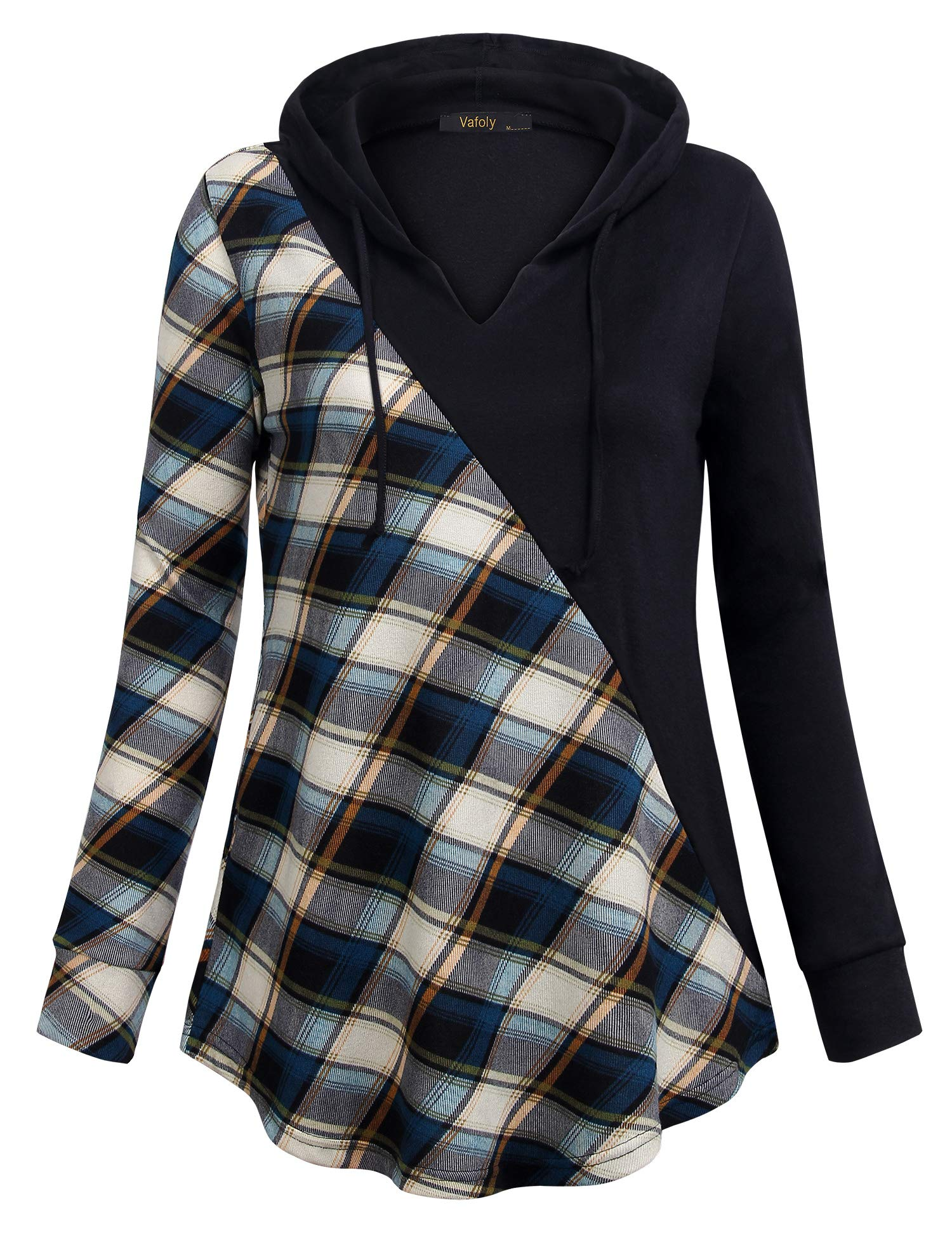 Vafoly Sweatshirt Tunic Women, Hoodies for Fall Plaid Long Sleeve Top Sport Easy Fit Cozy Soft V Neck Swing Tunic Hoodie Blue and Beige L