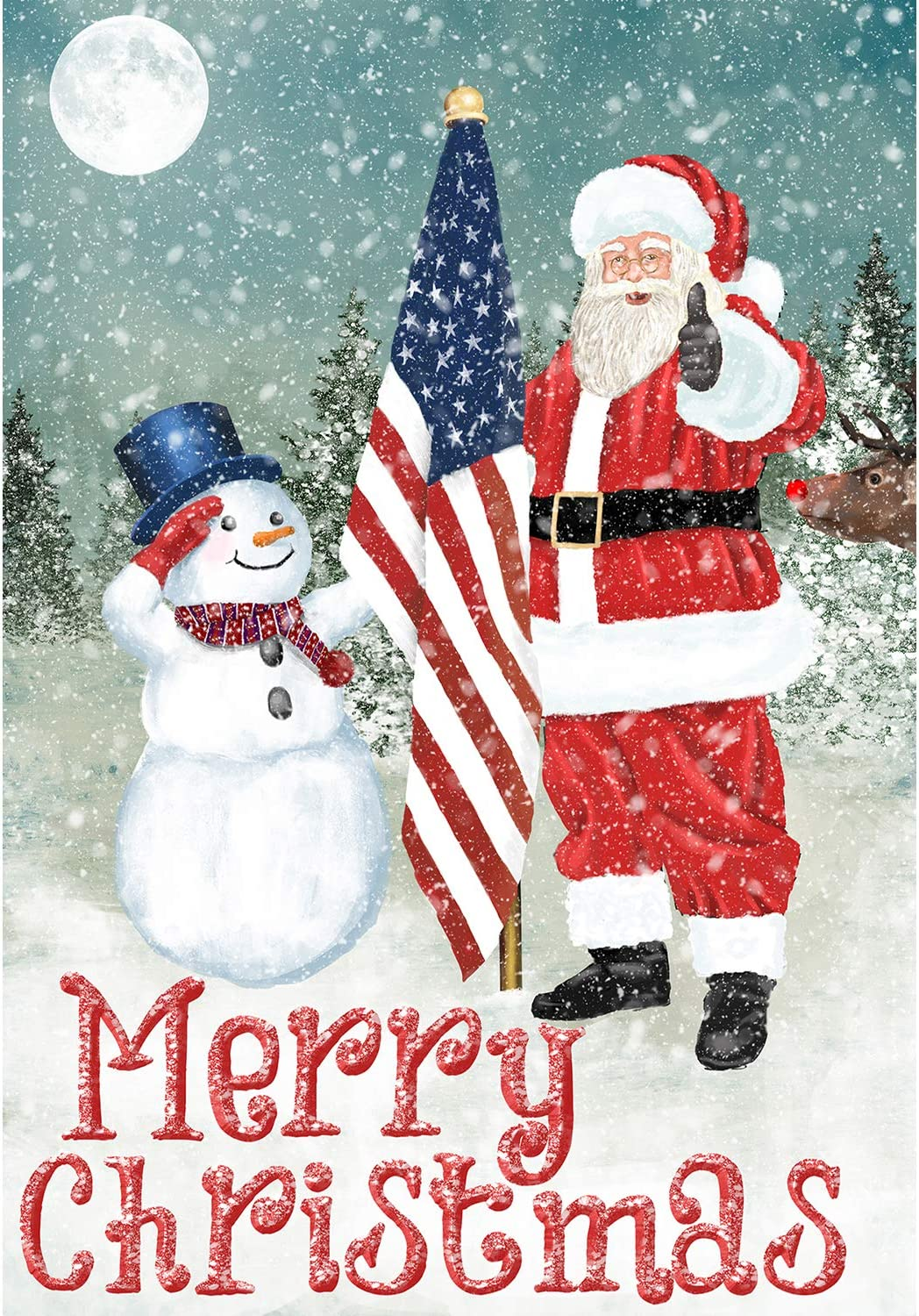 America Forever Flags Double Sided Garden Flag - Merry Christmas USA - 12.5