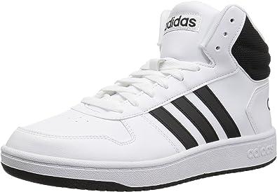 adidas Herren Hoops 2.0 Turnschuh, WeißSchwarz, 43 EU