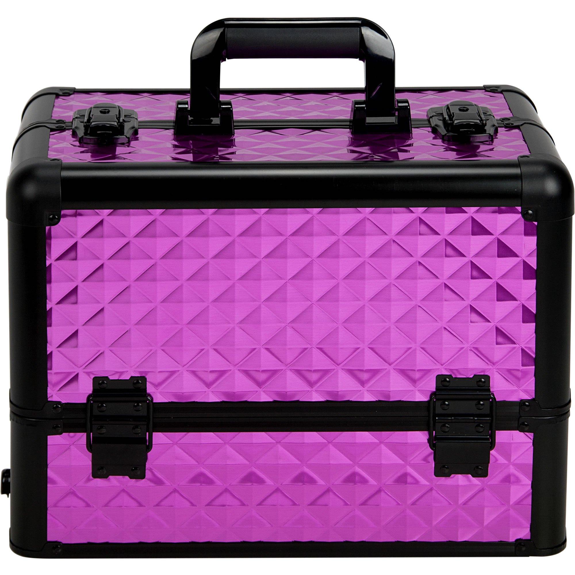 Sunrise Dona Heavy Duty Makeup Case Professional Nail Travel Organizer Box, Purple Diamond, 9 Pound by SunRise