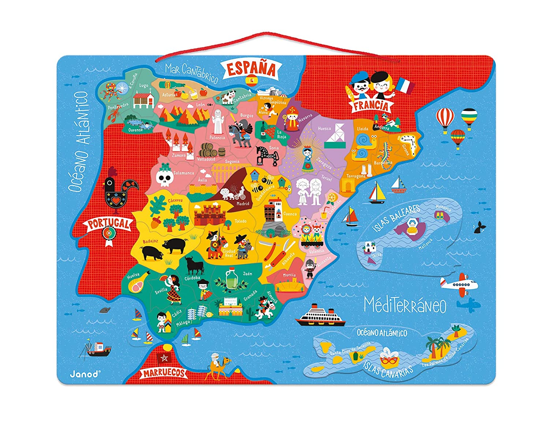 Map Of Spain 1500.Amazon Com Janod J05478 Magnetic Spain Map 50 Pcs Wood