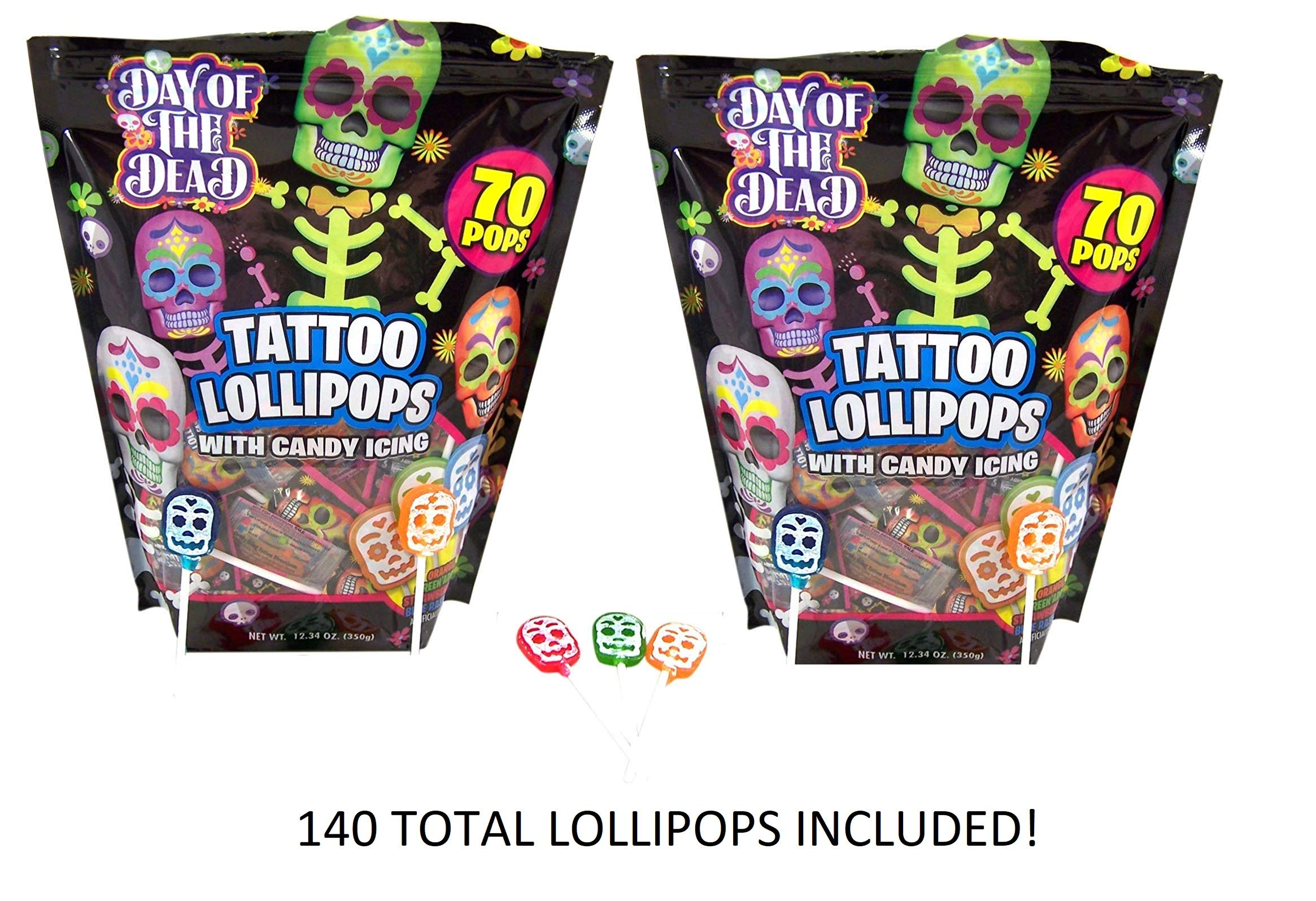 Halloween Day of the Dead Skull Icing Tattoo Lollipops, 140 Count by Flix Candy
