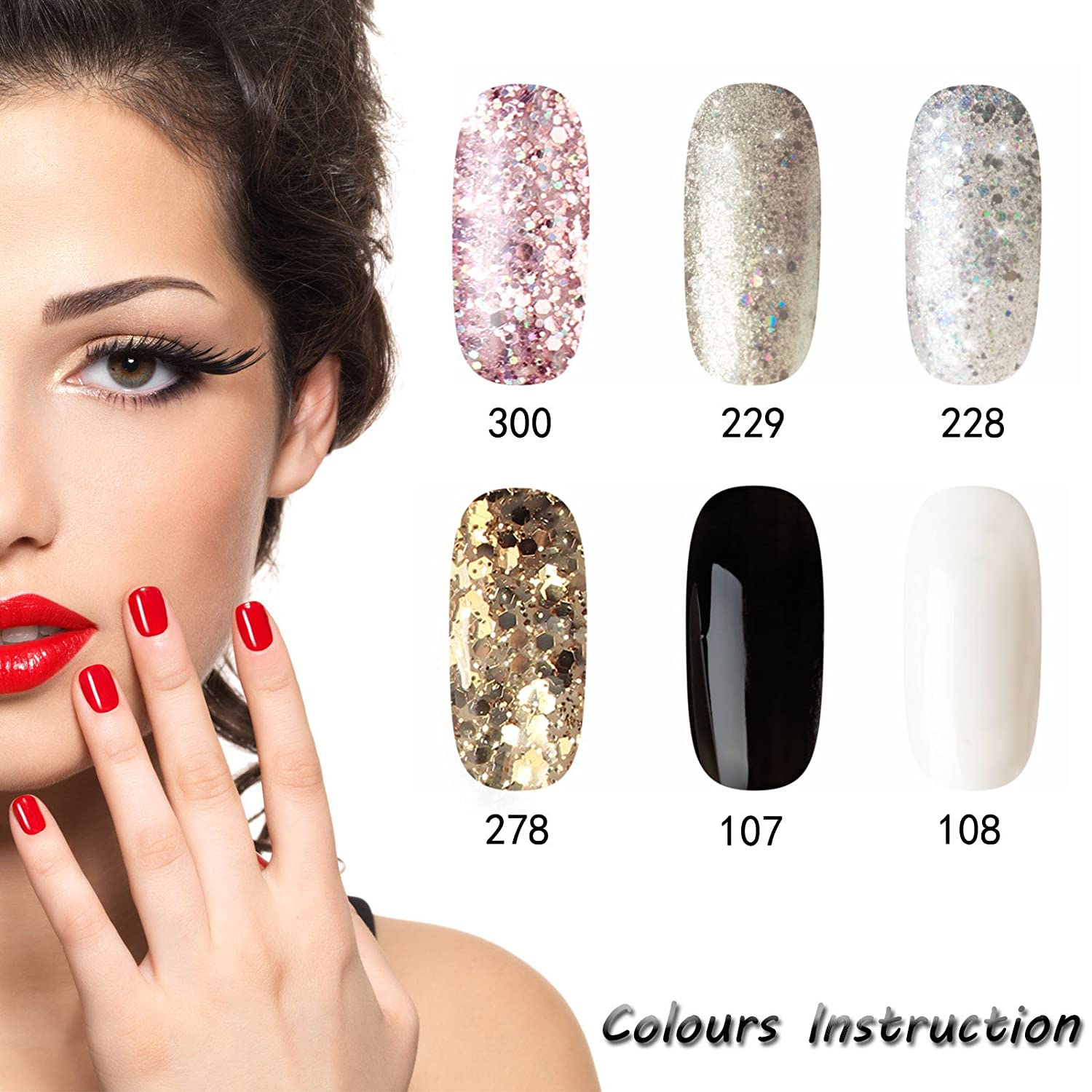 Y & S UV/LED Gel Nail Polish Sets Longwear Soak Off Gel de uñas con purpurina lavable a polaco barniz Manicura 8 ml - pack de 6: Amazon.es: Belleza