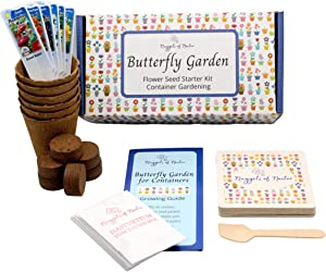 Nuggets of Nectar Butterfly Garden Flower Seed Starter Kit- Grow 6 Types of Wildflower Seeds Sized for Flower Pots- Nasturtium, Zinnia, Cosmos, Dwarf Sunflower, Baby Snapdragon and Candytuft
