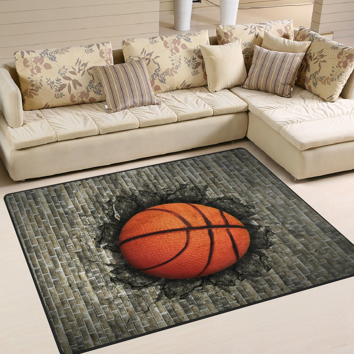 ALAZA Basketball Embedded in Brick Wall Area Rug Rugs for Living Room Bedroom 7' x 5'