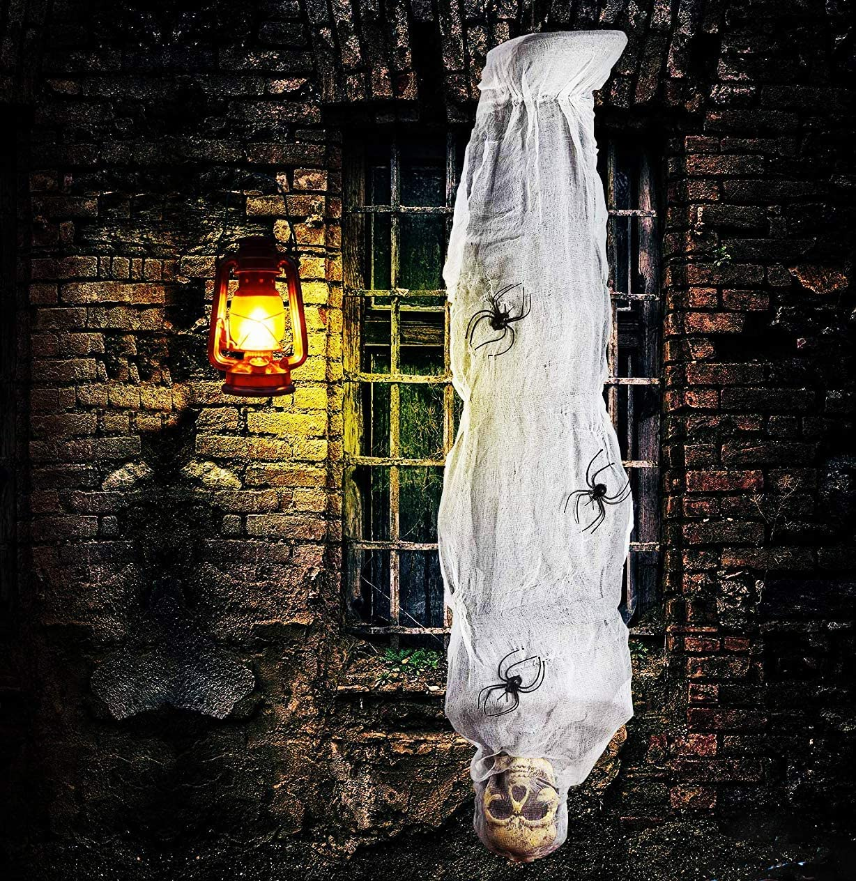 4E's Novelty Hanging Cocoon Corpse Prop | Halloween Scary Decorations Outdoor | 60 Inch/5 Ft Scary Hanging Skeleton Mummy with Spider, Flexible - for Haunted House, Yard Decor, Graveyard Scene