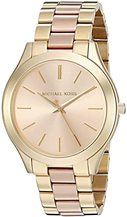 7183bff81685e Amazon.com  Michael Kors Women s Slim Runway Gold-Tone Watch MK3493  Michael  Kors  Watches