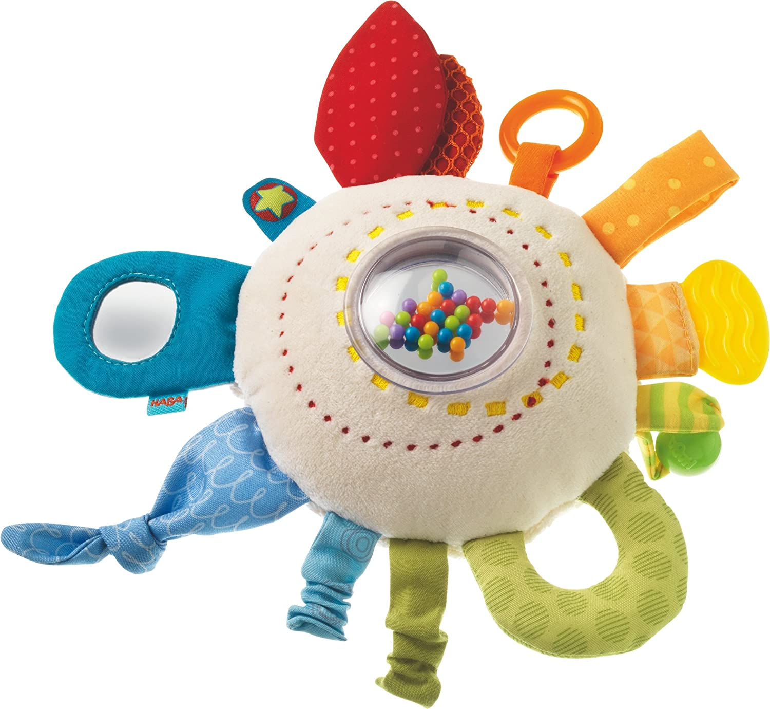 HABA Teether Cuddly Rainbow Round - Soft Activity Toy with Rattling & Teething Elements, Multicolored 301670