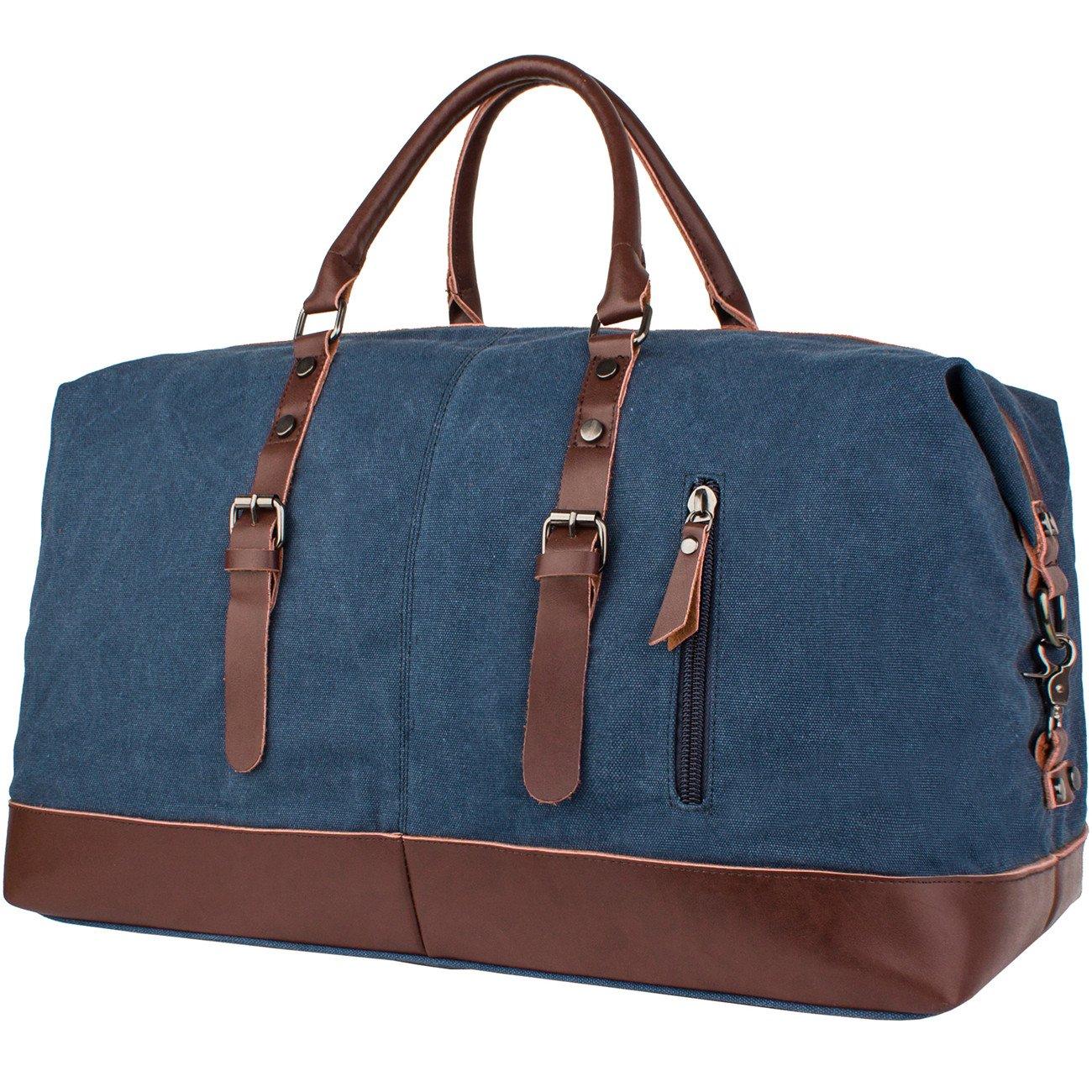 Leaper Oversized Canvas Travel Duffel Weekend Bag Tote Satchel Shoulder Handbag Holdall Weekender (Dark Blue)