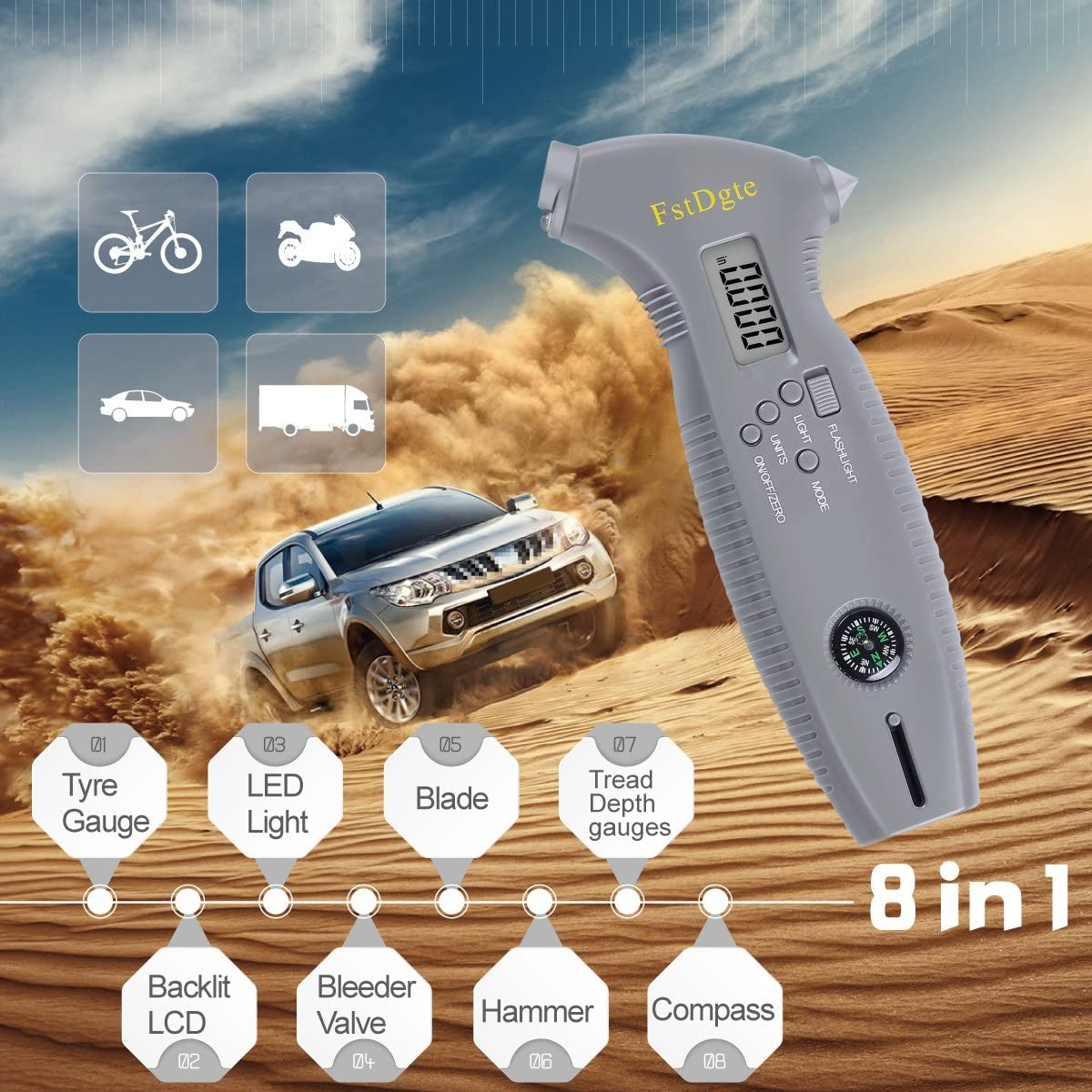 8 in 1 Digital Tyre Pressure Gauge for Bike,Motorcycle,Car Etc,with Backlit LCD and LED Light for Night,Bleeder Valve,Blade,Hammer,Tread Depth//Pressure Measurement Conversion,Compass Etc,Lifetime Warranty