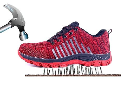 Aizeroth-UK Unisex Hombre Mujer Zapatillas de Seguridad con Punta de Acero Transpirable S3 Zapatos de Trabajo Comodas Calzado de Trabajo Deportivos Botas de ...