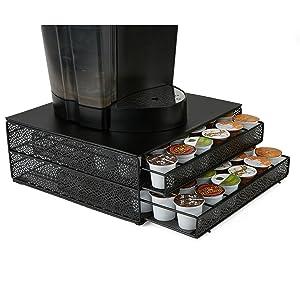 Mind Reader DBMTRAY-BLK 72 Capacity Double K-Cup Coffee Pod Storage Organizer Drawer Metal Mesh, Black