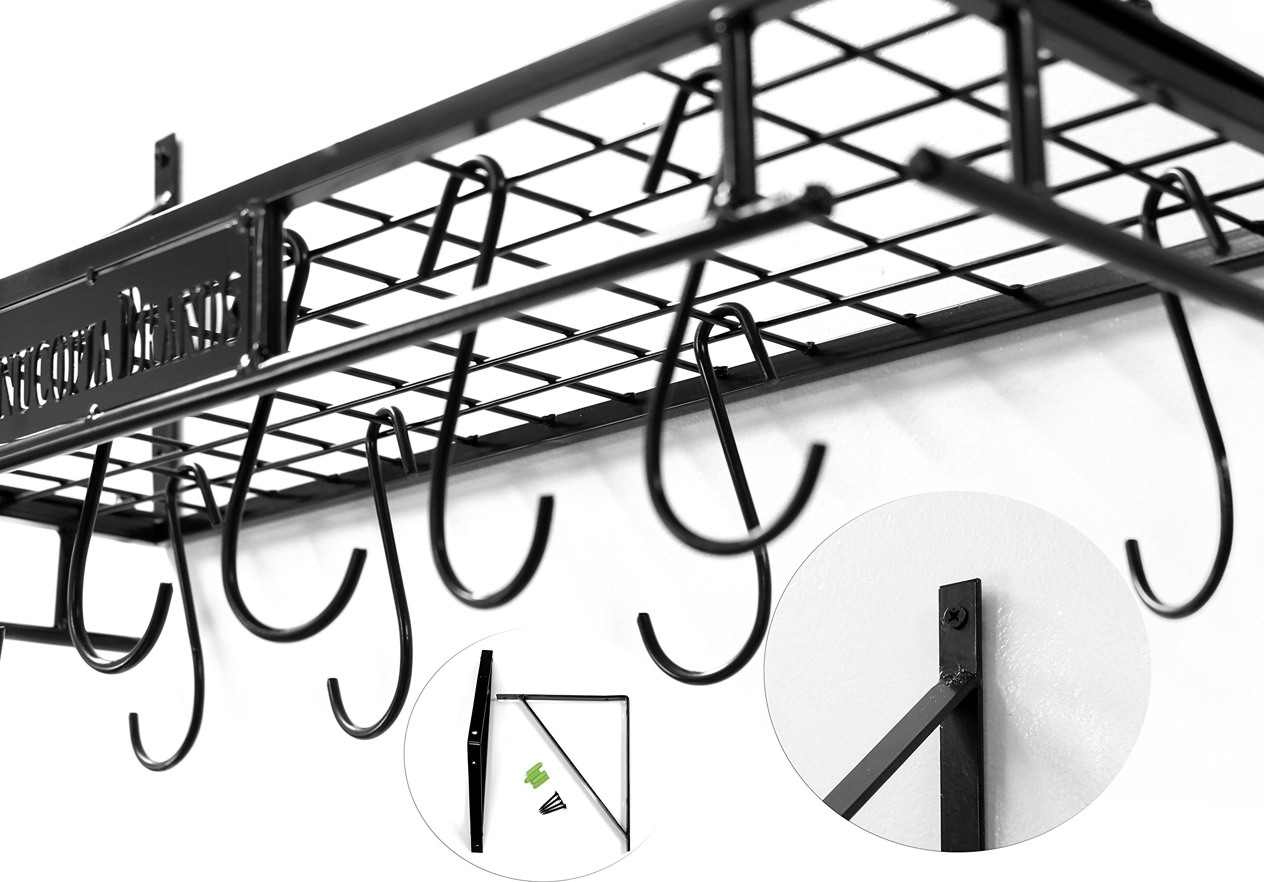 Wall-Mounted Pot Hanging Rack, 24 by 10 Inches, All-Black Decorative Kitchen Shelf w/ 10 S-Hooks by Cornucopia Brands (Image #6)
