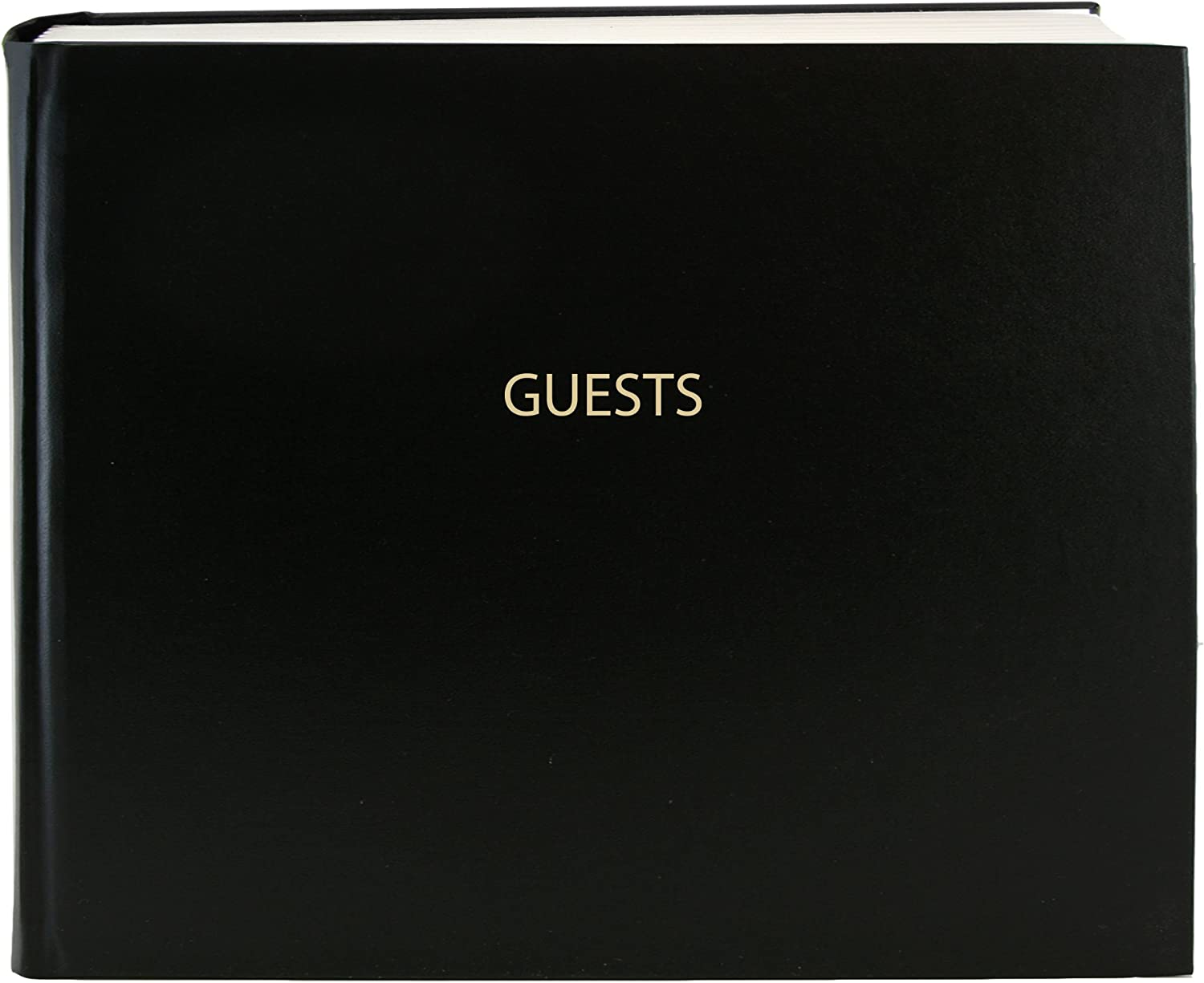 """BookFactory Guest Book (120 Pages) / Guest Sign-in Book/Guest Registry/Guestbook - Black Cover, Smyth Sewn Hardbound, 8 7/8"""" x 7"""" (LOG-120-GUEST-A-LKT25)"""
