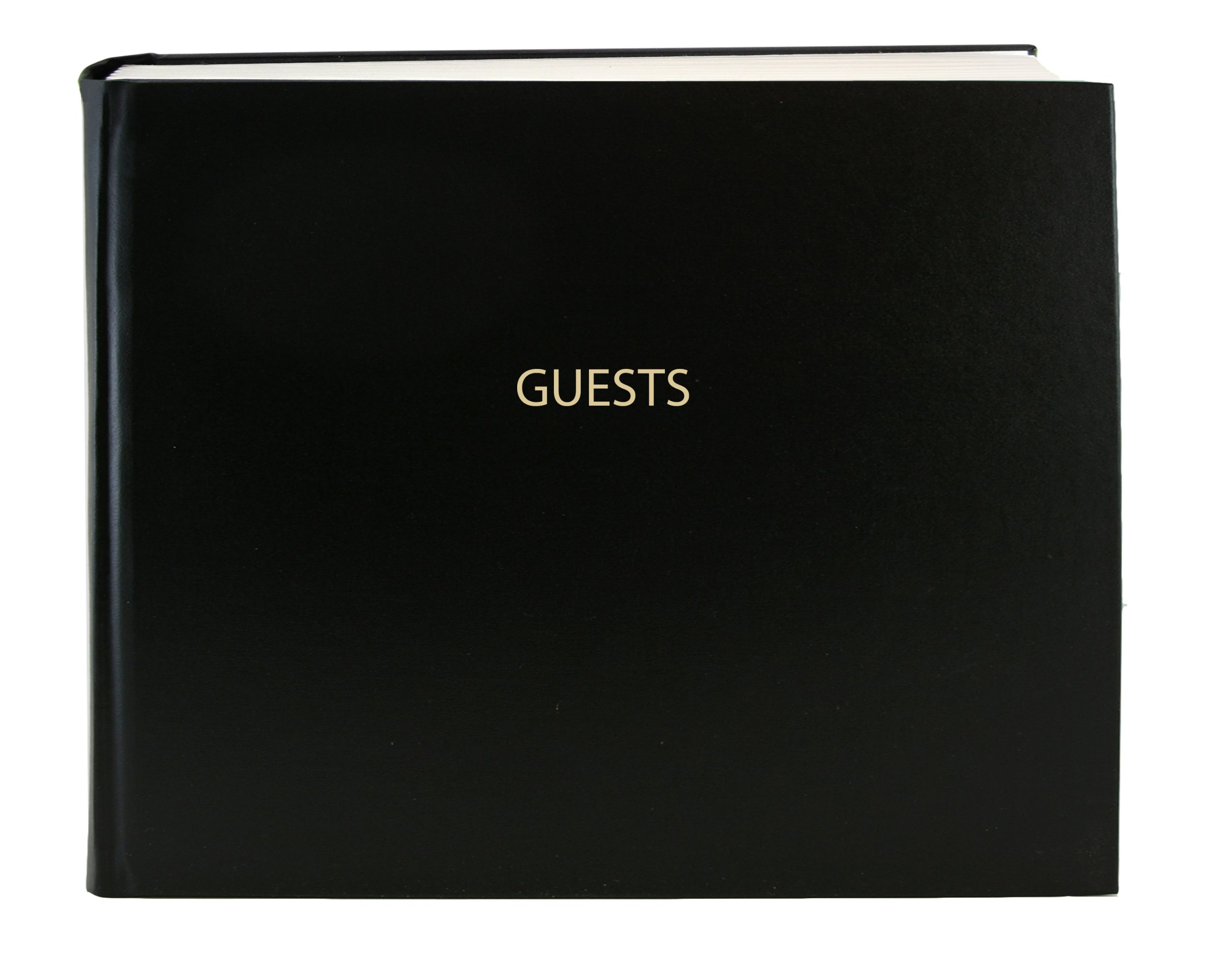 BookFactory Guest Book (120 pages) / Guest Sign-In Book / Guest Registry / Guestbook - Black Cover, Smyth Sewn Hardbound, 8 7/8'' x 7'' (LOG-120-GUEST-A-LKT25)