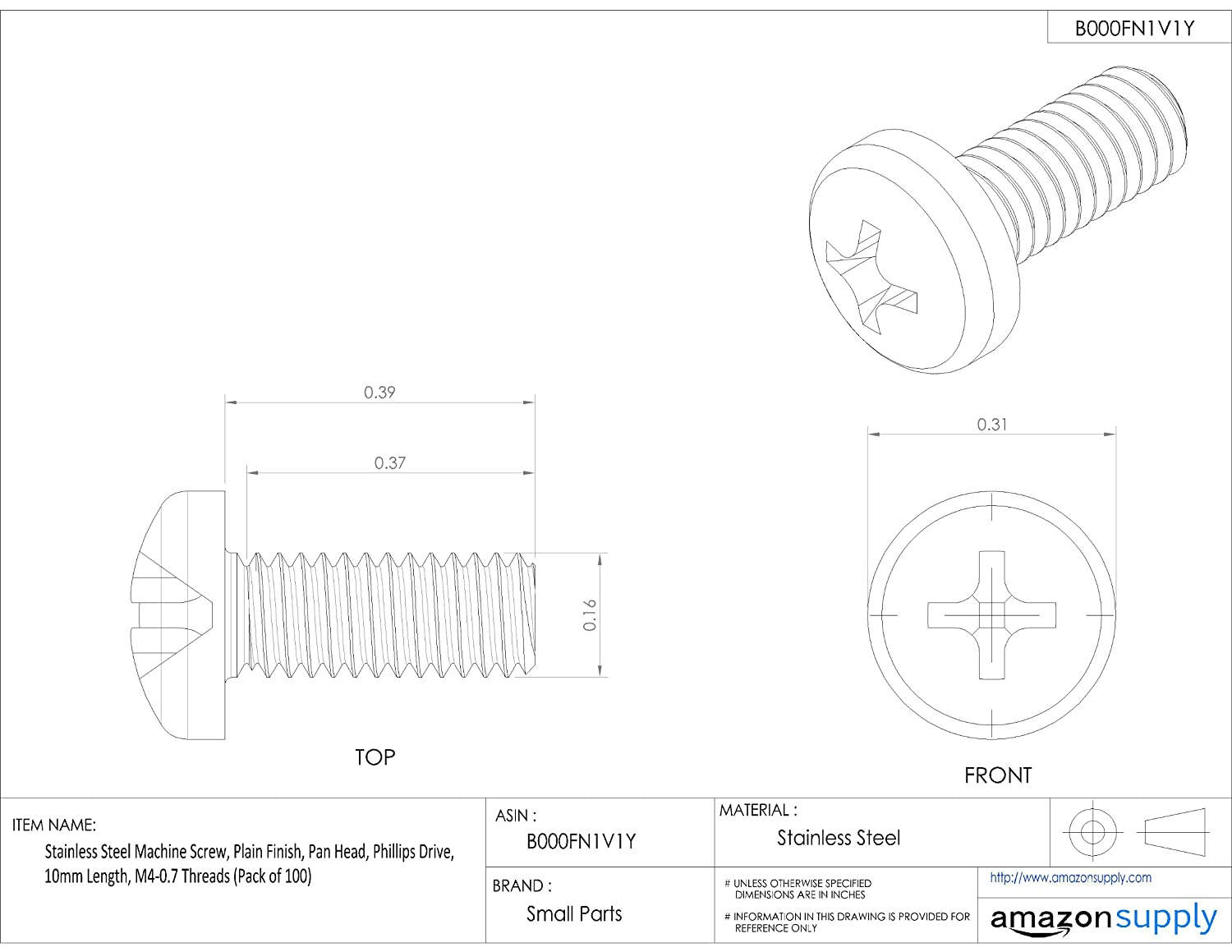 Pan Head Phillips Drive Stainless Steel Machine Screw Pack of 100 10mm Length M4-0.7 Threads Plain Finish