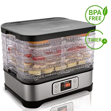 SuperPostman Food Dehydrator Machine, Jerky Dehydrator with Timer, Five Tray, LCD Display Screen/BPA Free/250Watt