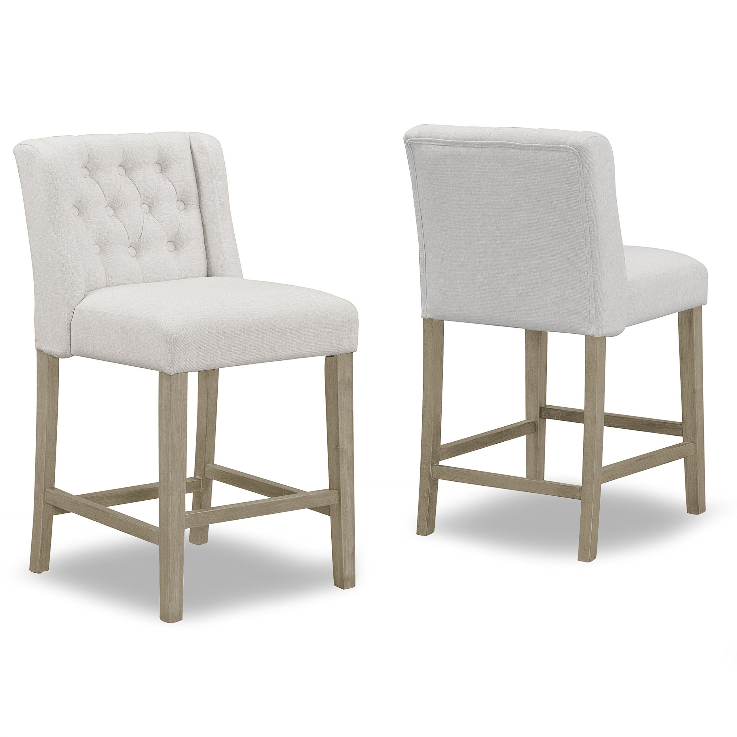 Set of 2 Aled Beige Fabric Counter Stool with Side Wings and Tufted Buttons