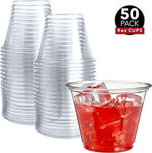 50 Clear Plastic Cups | 9 oz Plastic Cups | Clear Disposable Cups | PET Cups | Clear Plastic Party Cups | Crystal Clear Plastic Cups