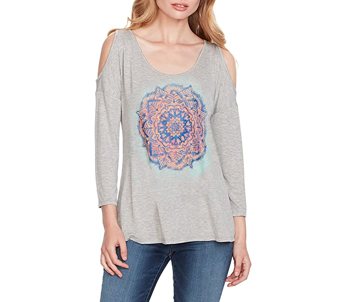 a01d130d73d Jessica Simpson Cold Shoulder Everglow Graphic Top at Amazon Women's  Clothing store: