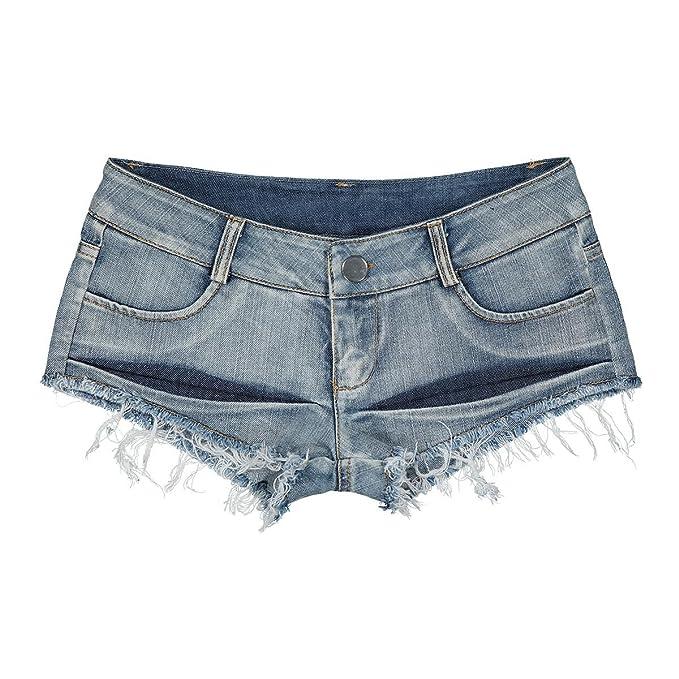 Ruiyue Mini Pantalones Cortos de Mezclilla, Pantalones Cortos de botín Pantalones Cortos de Mezclilla Playas de Talle bajo con Corte Sexy Mini Pantalones ...