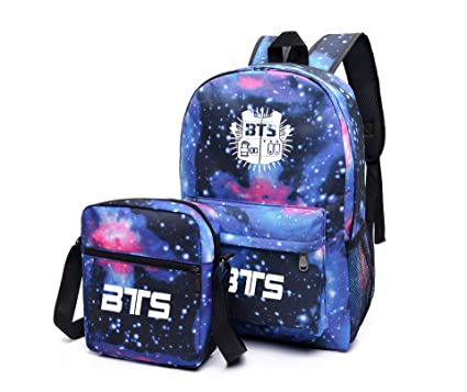 BeautyWJY BTS Galaxy School Backpack Bag Unisex Canvas Laptop Book Bag Blue
