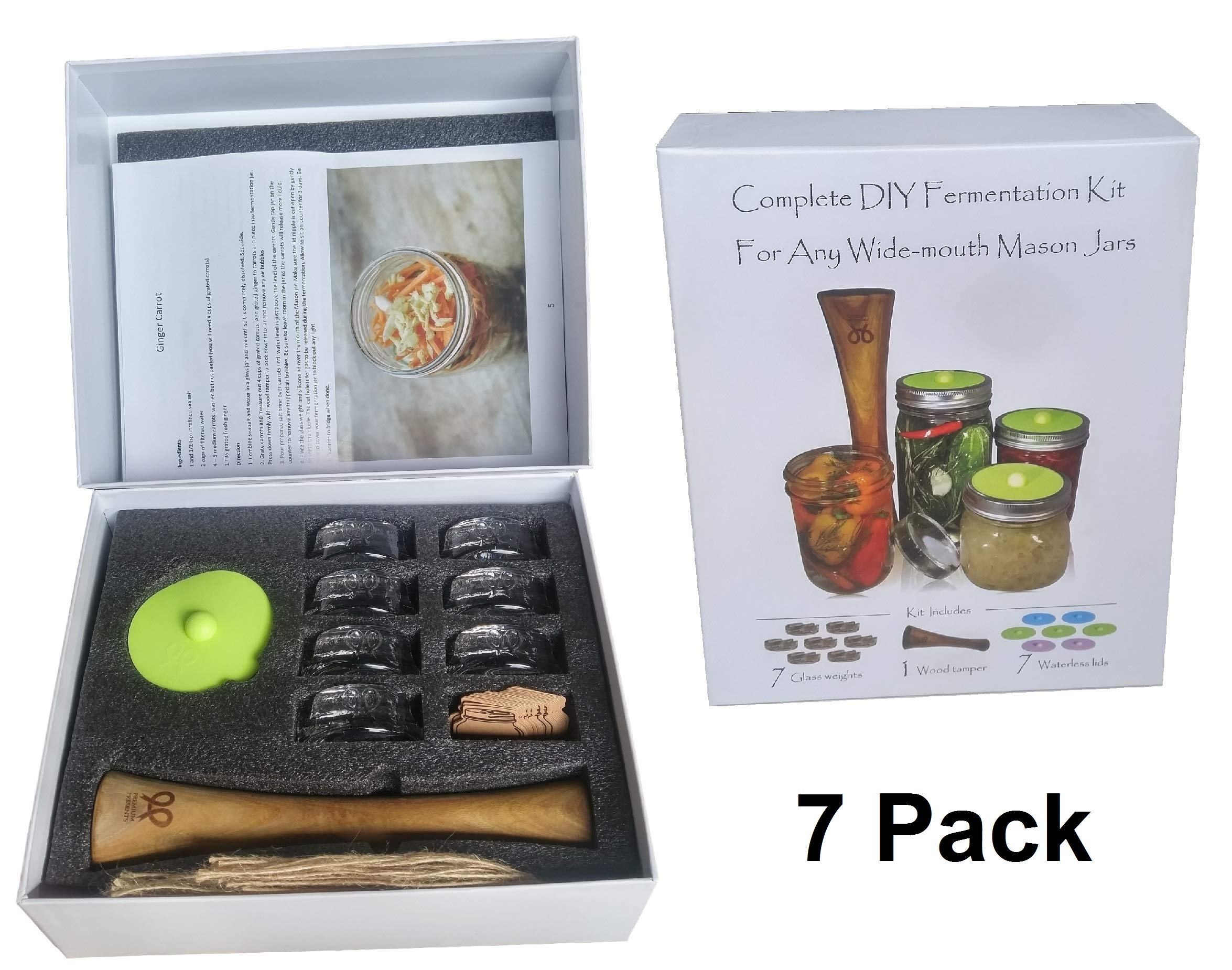 Canning kit.Complete DIY fermentation kit for wide mouth mason jars or pickling jars. 5 glass weights, 1 tamper, 5 airlock lids. Make Sauerkraut, Kimchi, Pickles or any fermented food.Premium Presents by PremiumPresents