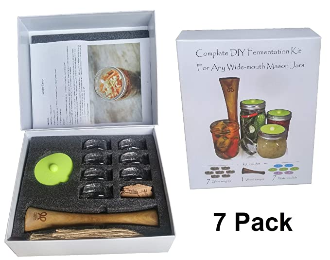 Canning kit.Complete DIY fermentation kit for wide mouth mason jars or pickling jars. 5 glass weights, 1 tamper, 5 airlock lids. Make Sauerkraut, Kimchi, Pickles or any fermented food.Premium Presents