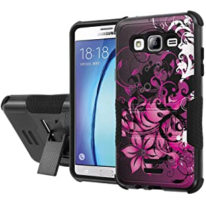 Galaxy [On5] Armor Case [NakedShield] [Black/Black] Urban Shockproof Defender [Kick Stand] - [Purple Flower] for Samsung Galaxy [On5]