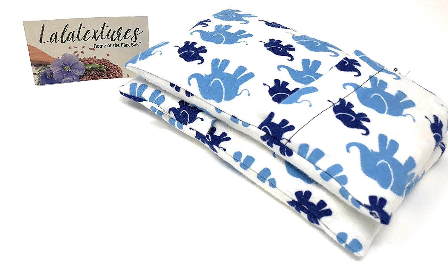 Two Unscented BooBoo Flax Saks, Microwaveable Heating Pads for Children. Keep them in the freezer to soothe their bumps and bruises! White with Elephant.
