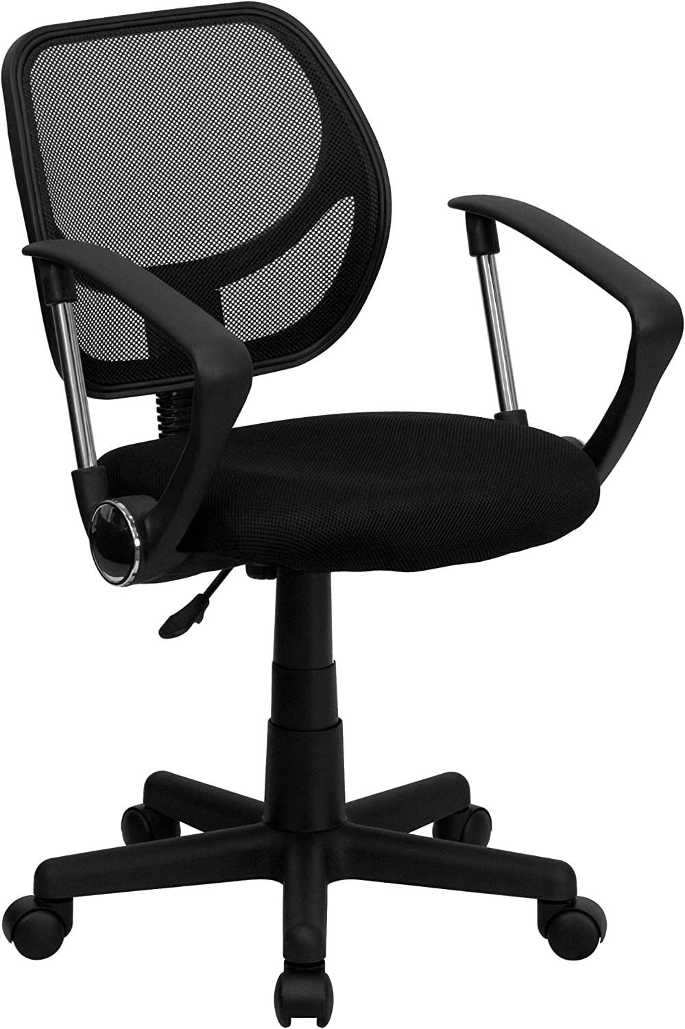 Flash Furniture Low Back Black Mesh Swivel Task Office Chair with Curved Square Back and Arms