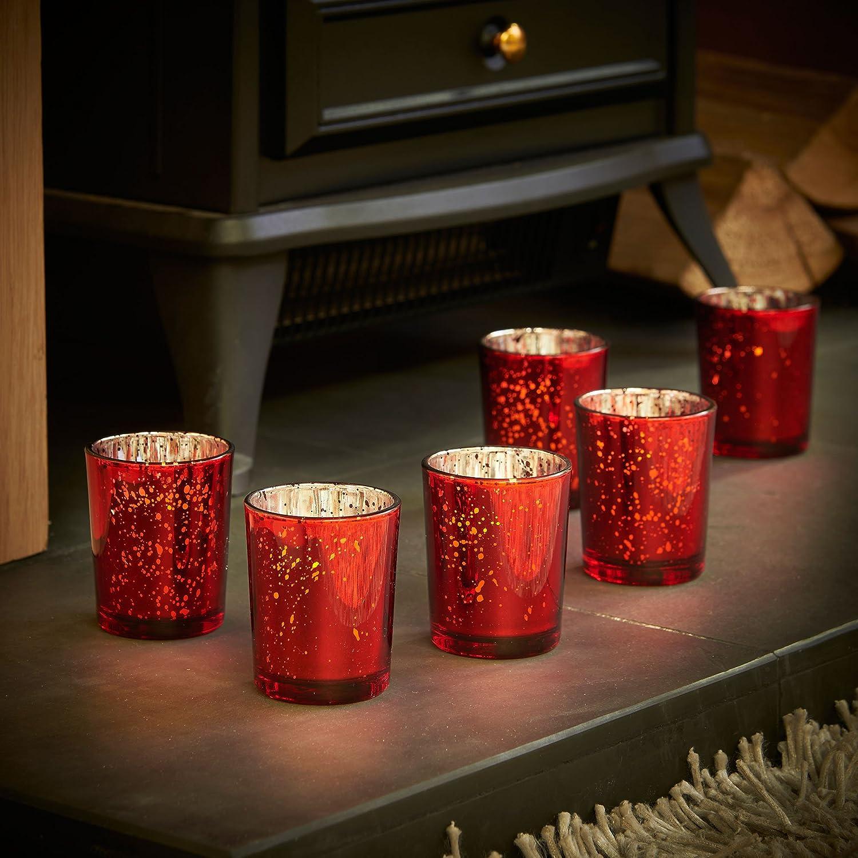 VonHaus Set de 6 Portavelas de Cristal y Velas LED Vintage Rojo: Amazon.es: Hogar