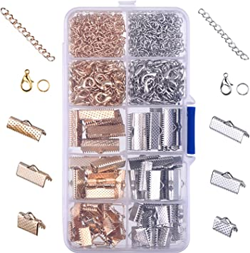 Ribbon Bracelet Kit Crimp Ends Lobster Clasps Jump Rings DIY Jewelry Finding