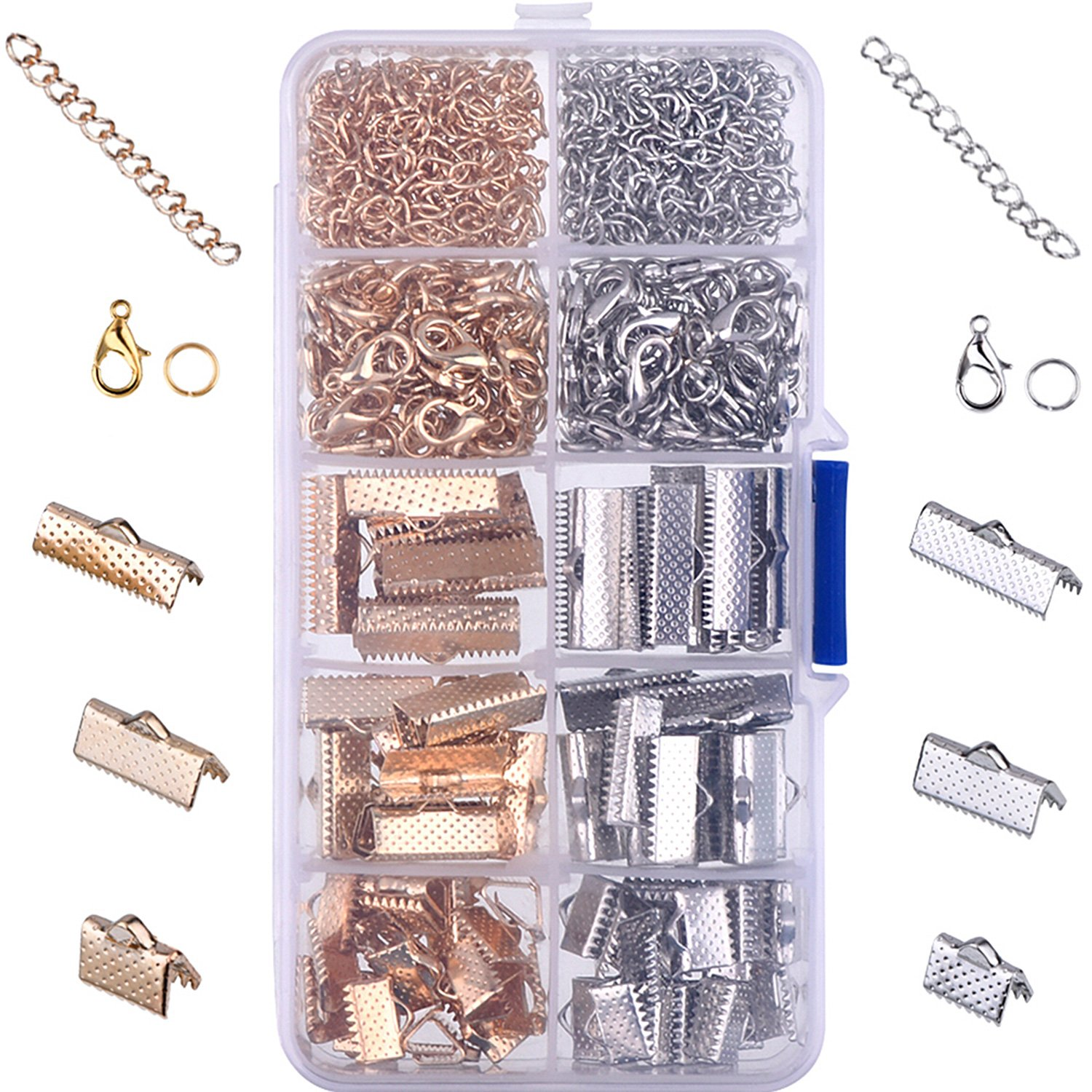 Outus Ribbon Bracelet Kit Bookmark Pinch Crimp Ends Lobster Clasps with Jump Rings and Chain Extenders, 370 Pieces 4336833299