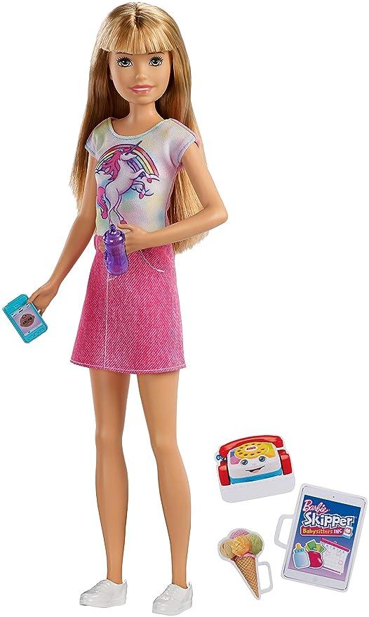 Barbie-FXG91 Bambola Skipper Bionda Babysitter con Cellulare e Biberon 99a87f020827d