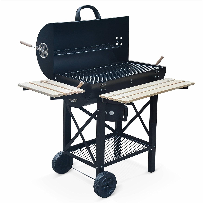 Alice s Garden - Barbacoa de carbón americano en color negro, con aireador, recuperador de cenizas, horno para ahumar: Amazon.es: Jardín