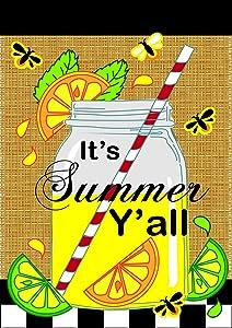Its Summer Yall Mason Jar Lemonade 42 x 29 Rectangular Burlap Double Applique Large House Flag