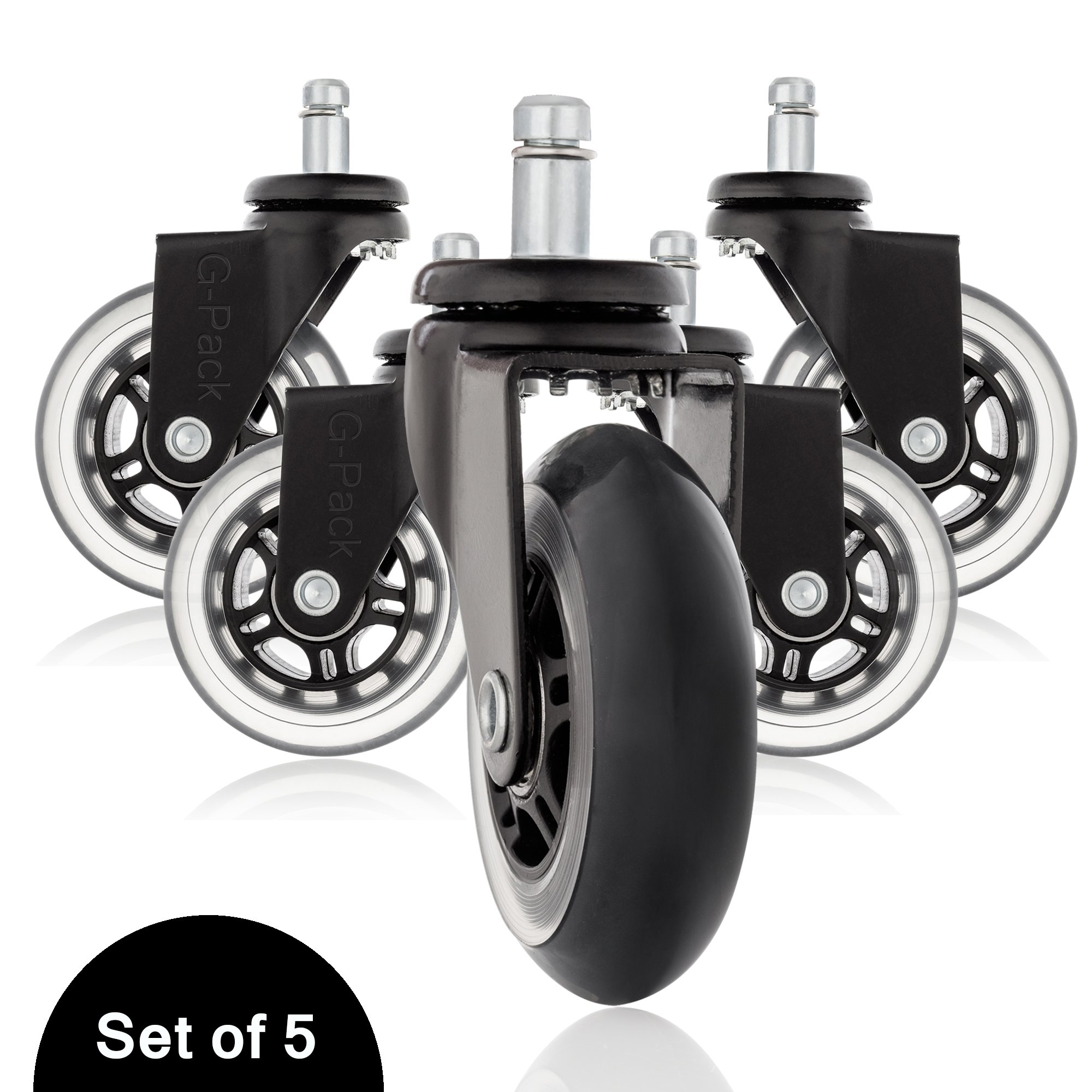 Office Desk Chair Replacement Caster Wheels Set, Heavy Duty Construction Protects Hardwood Floors & Carpets From Damage, 650lbs Capacity Smooth Rolling & Whisper Quiet Operation - Pack Of 5 (Black)