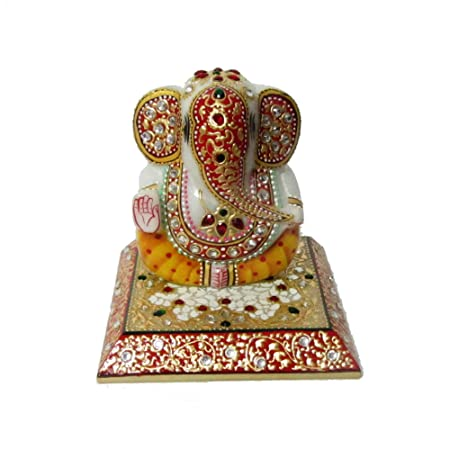 eCraftIndia Colorful Stone Studded Lord Ganesha on Marble Chowki (5 in, Red, Yellow and Golden) Home Décor Accents at amazon