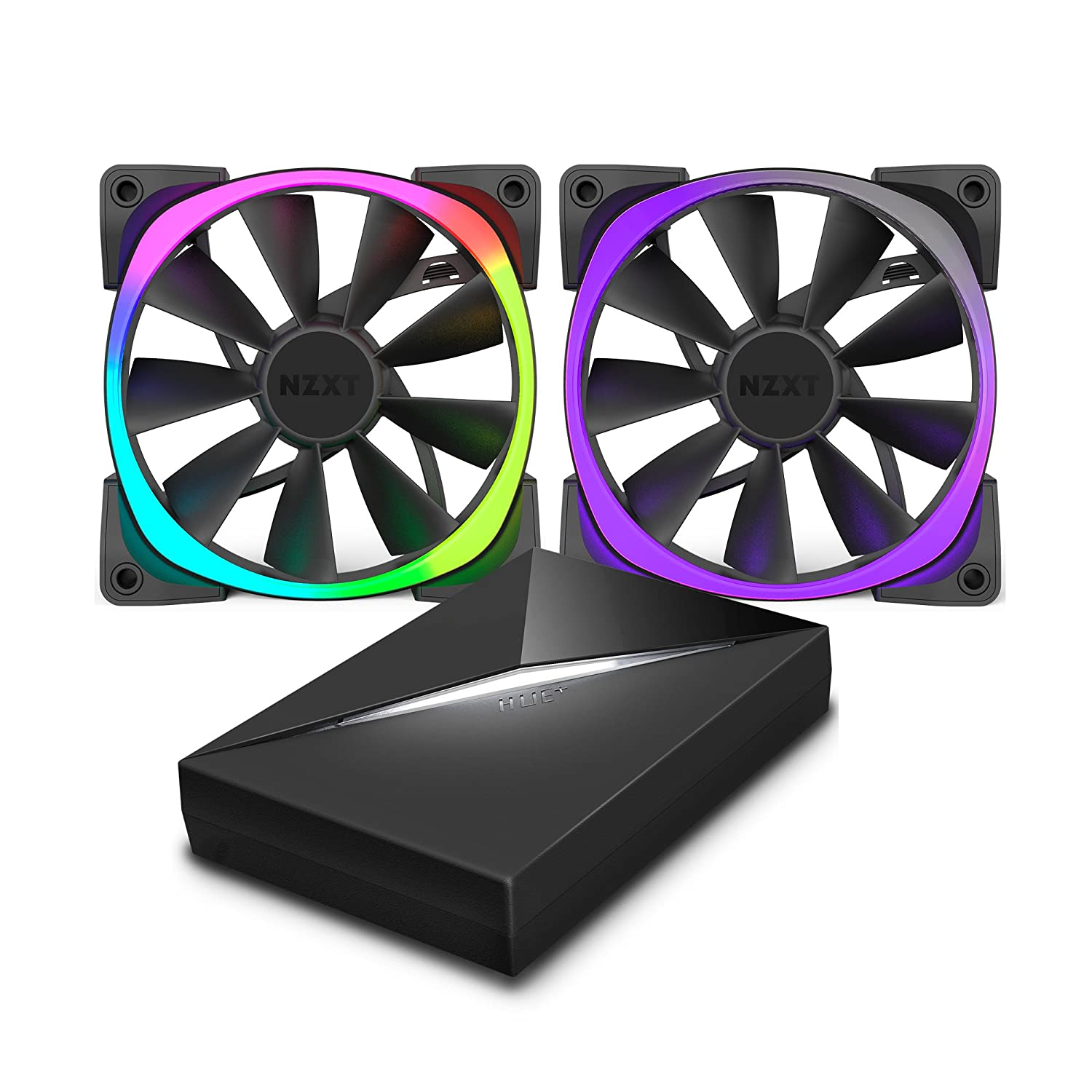 NZXT Aer RGB120 120 mm RGB LED Fan with HUE Controller - Black (Pack of 2):  Amazon.co.uk: Computers & Accessories