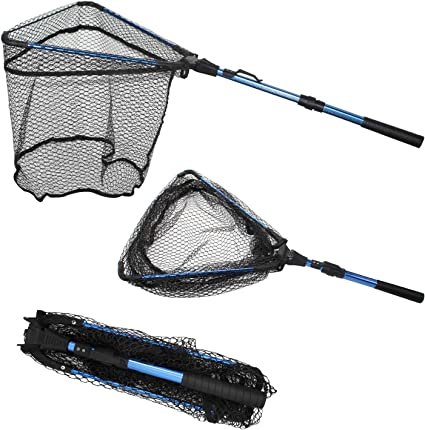 Folding Nylon Fishing Net Retractable Foldable Landing Net Pole for Fly Fishing